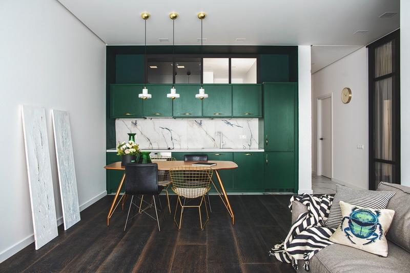 ห้องครัวสีเขียวทึบ