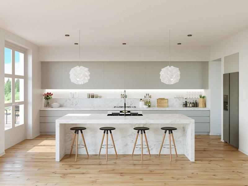ห้องครัวที่มีพื้นที่กว้างโล่ง